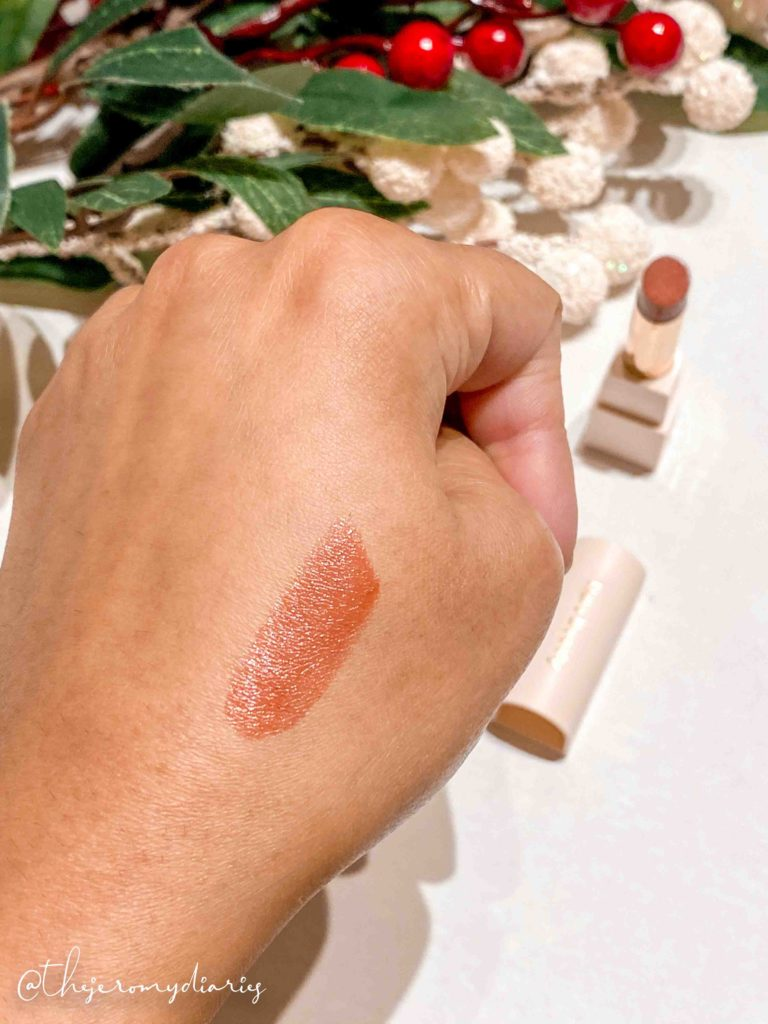 rare beauty dewy lip balm swatch